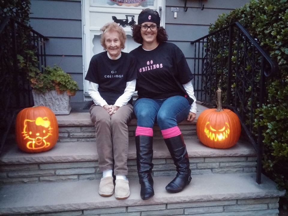 I met her the first week of October and spent Halloween with her. We dressed up as Celing Fans. She still laughs about it. And she's wicked impressed with my pumpkin carving skills. Lit those things every night for the next two weeks and called to tell me people stopped and knocked to tell her how great they were. Ha!